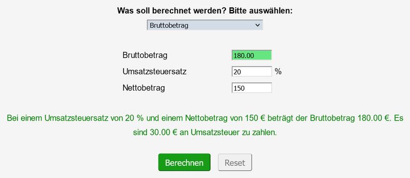 Screenshot des ausgefüllten Prozentrechners zur Berechnung des Bruttopreises