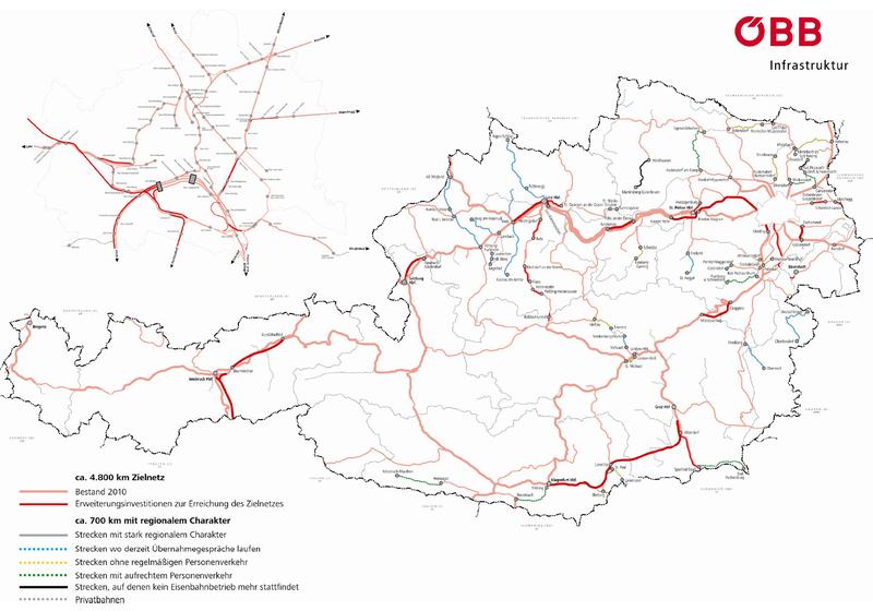 Geplantes Zielnetz 2025+ der ÖBB; Quelle: ÖBB Infrastruktur