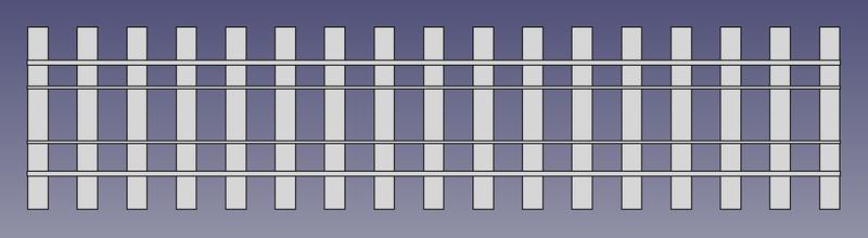Draufsicht auf ein 2 Meter langes Vierschienengleis mit 8 Schwellen pro Meter (FreeCAD Zeichnung)