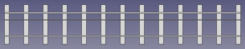 Draufsicht auf ein 2 Meter langes Dreischienengleis für die Spurweiten 5 Zoll & 7 ¼ Zoll mit 6 Schwellen pro Meter (FreeCAD Zeichnung)