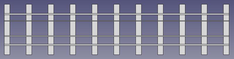 Draufsicht auf ein 2 Meter langes Vierschienengleis mit 5 Schwellen pro Meter (FreeCAD Zeichnung)