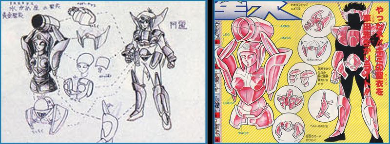 A la izquierda, el dibujo ganador; a la derecha, el rediseño realizado por el maestro Kurumada.