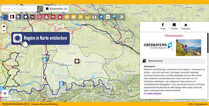 Karte Oberbayern.Oberbayern Ferienstrassen Info