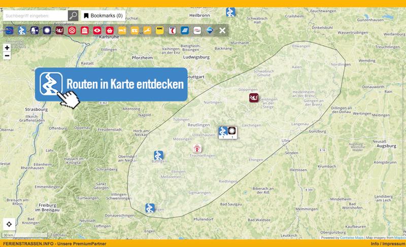 Schwäbische Alb Karte Städte.Schwäbische Alb Ferienstrassen Info