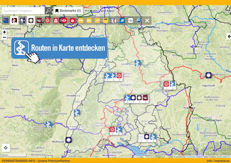 Die Routen in Baden-Württemberg in Karte entdecken!