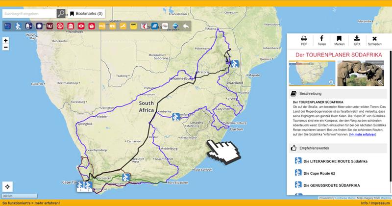 Südafrika Karte.Südafrika Ferienstrassen Info