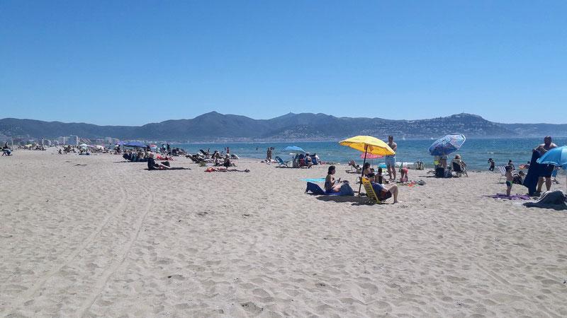 Parasol, plage, mer, espagne, bronzage, vacances, Empuriabrava