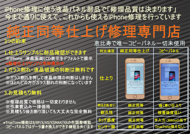 iPhoneコピーパネルと純正同等修理の仕上り品質対比