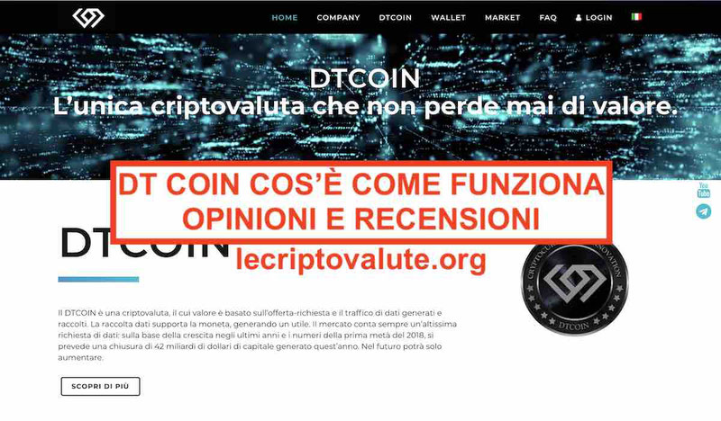 DT Coin Criptovaluta opinioni recensioni: cos'è come funziona truffa