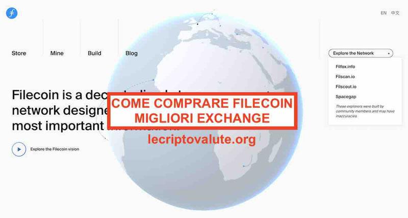 Dove e come comprare FileCoin Carta credito e bonifico (FIL)