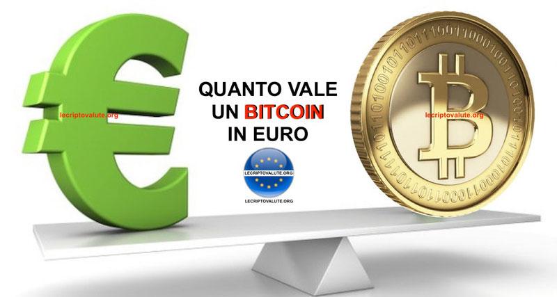 quanto vale un bitcoin in euro oggi in tempo reale
