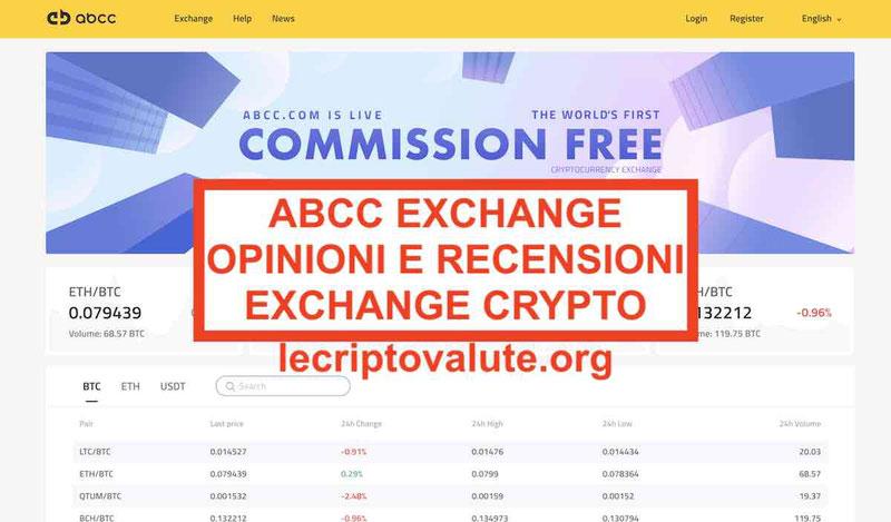 ABCC Exchange recensioni opinioni: primo exchange a zero commissioni