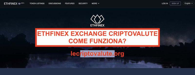 Ethfinex Exchange criptovalute recensione opinioni: truffa funziona