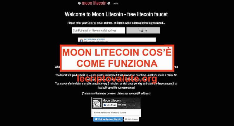 Moon Litecoin faucet cos'è e come funziona [guida 2020]