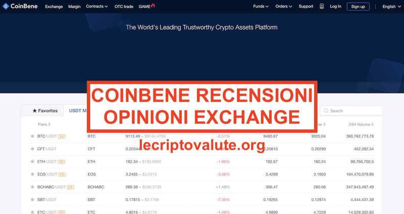 Coinbene recensioni opinioni exchange: guida principianti