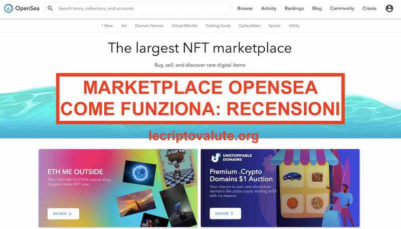 marketplace opensea recensioni opinioni come funziona
