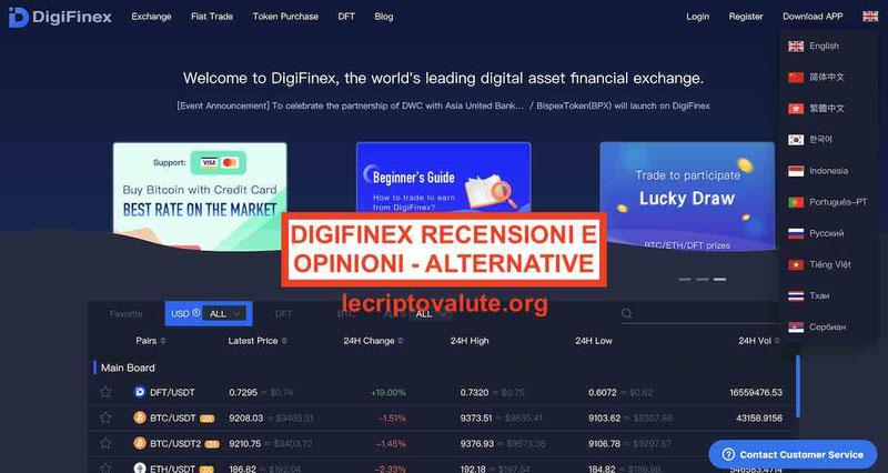 DigiFinex Exchange recensioni opinioni Funziona? Alternative