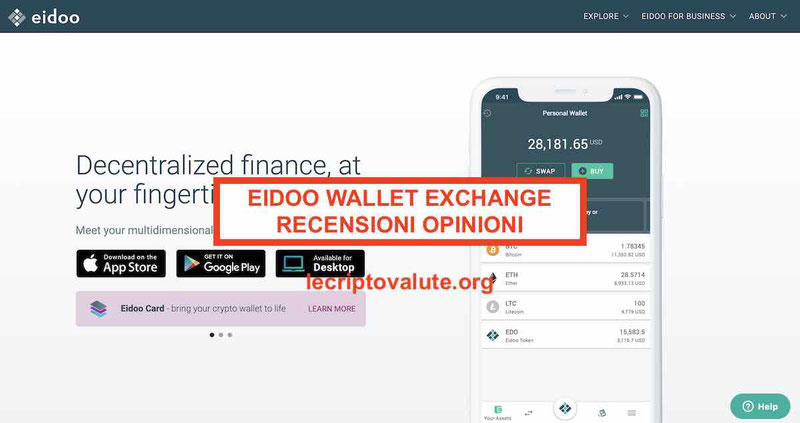 Eidoo Wallet recensioni opinioni coin exchange come funziona