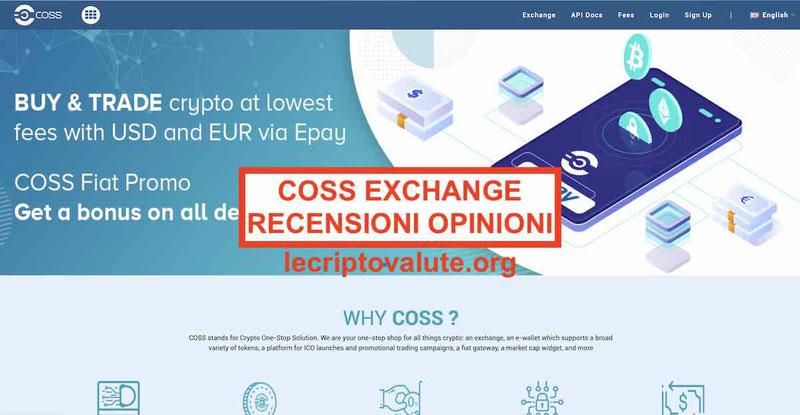 COSS Exchange criptovalute recensioni opinioni: Commissioni
