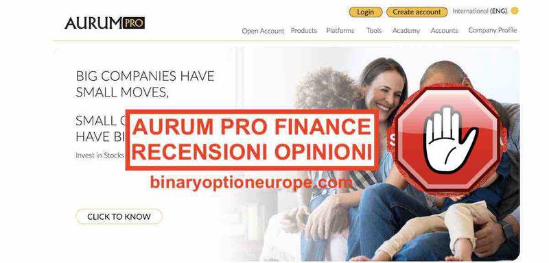 Aurum Pro Finance Recensioni e Opinioni truffa consob