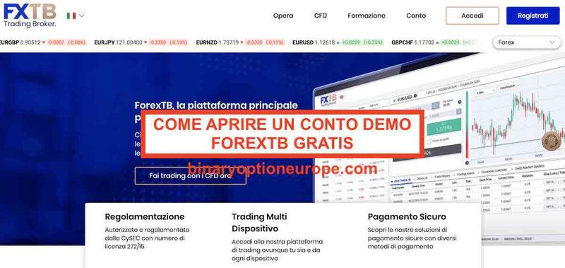 forextb demo gratis: Come fare per aprire un conto demo forextb