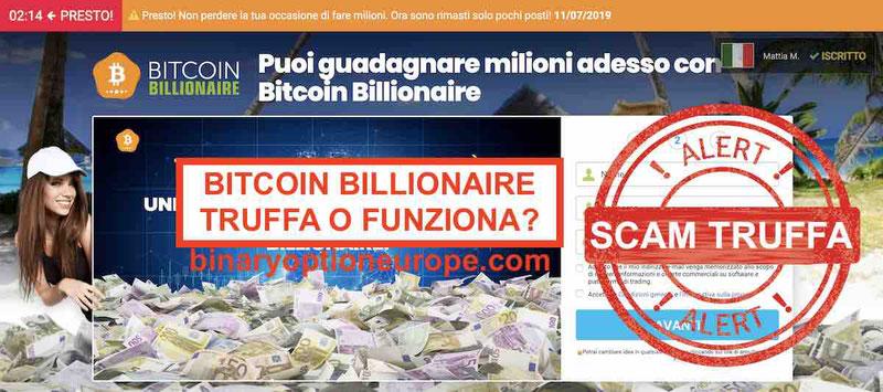BTC Bitcoin Billionaire opinioni recensioni truffa funziona