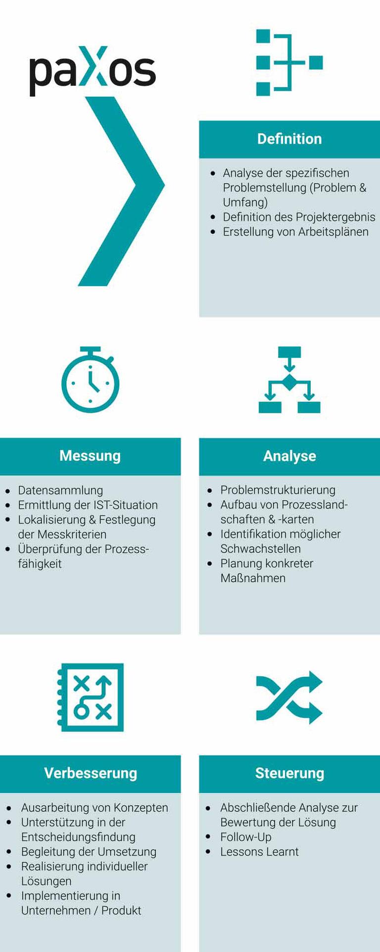paXos Consulting Bereiche Analyse, Lösungsfindung und Optimierung