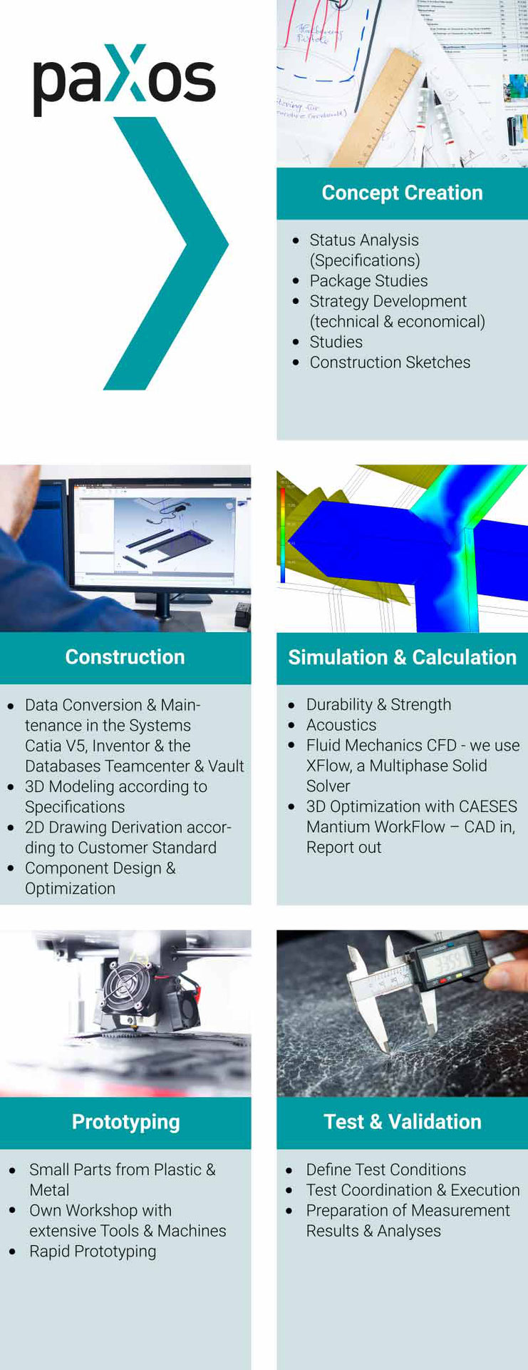 paXos Engineering Sectors: Concept Creation, Construction, Simulation & Calculation, Protoyping and Test & Validation