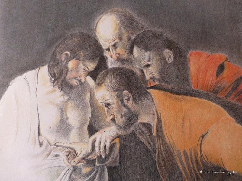 """Nach einem Gemälde von Caravaggio """"Der ungläubige Thomas"""""""