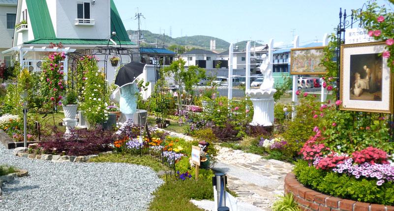 【写真】高いレベルでデザインされたバラ園(箕面市粟生外院の「Kガーデン」(南園)/園芸専門家による)