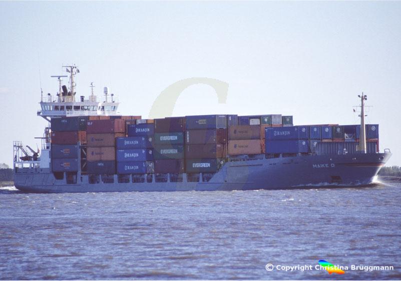 Feeder Containerschiff MAIKE D, Elbe 2005
