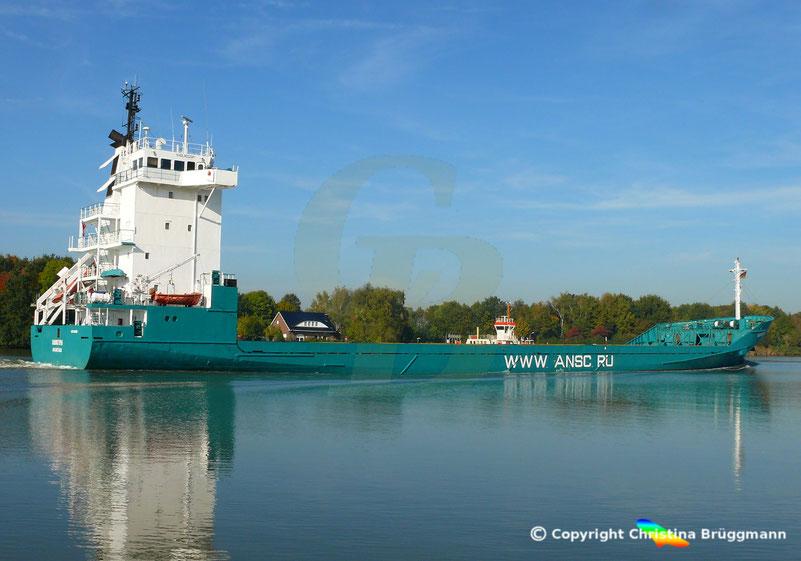 Feeder Containerschiff KHOLMOGORY,  NOK 10.10.2018