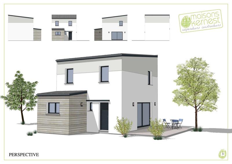 maison moderne à étage avec toit plat et enduit bicolre gris et blanc