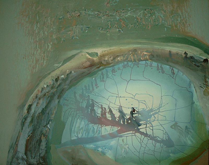 Der Tag wie eine Brücke aufgehängt zwischen Schatten - Acryl auf Leinwand,  1993 (130x160)