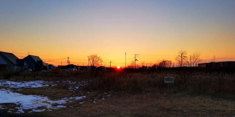 苫小牧の某所からの夕陽