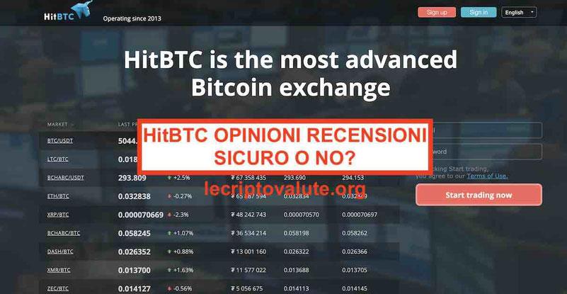 HitBTC opinioni e recensioni exchange criptovalute 2019: sicura o no