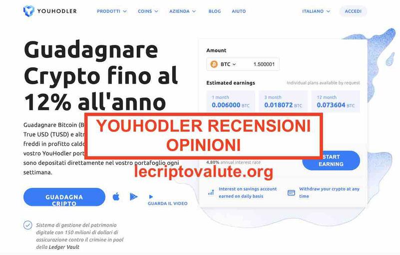 YouHodler recensioni opinioni: guadagnare interessi con criptovalute