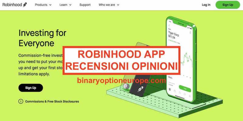 Robinhood Italia recensioni opinioni app trading funziona