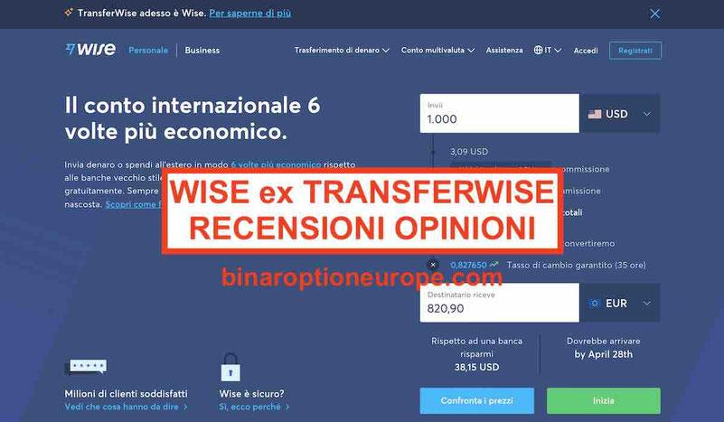 ex TransferWise recensioni opinioni wise e commissioni alternative