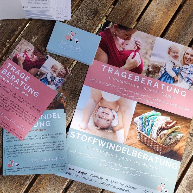Christine Lagger fuchs und spatz Flyer Poster Visitenkarten Stoffwindelberatung Trageberatung Baby Mama Tragen Wickeln nachhaltig gedruckt