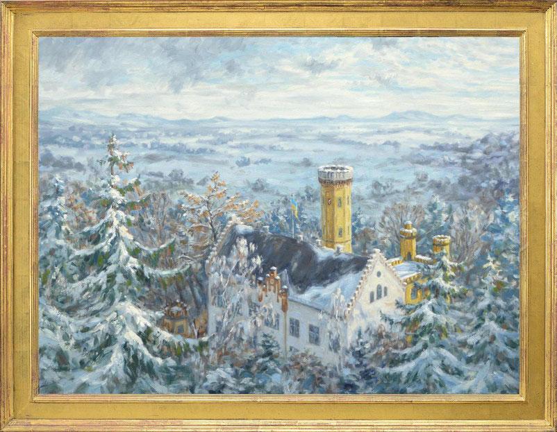 Gemälde vom Schloss Wellenburg im Winter von Karl J. Fuchs