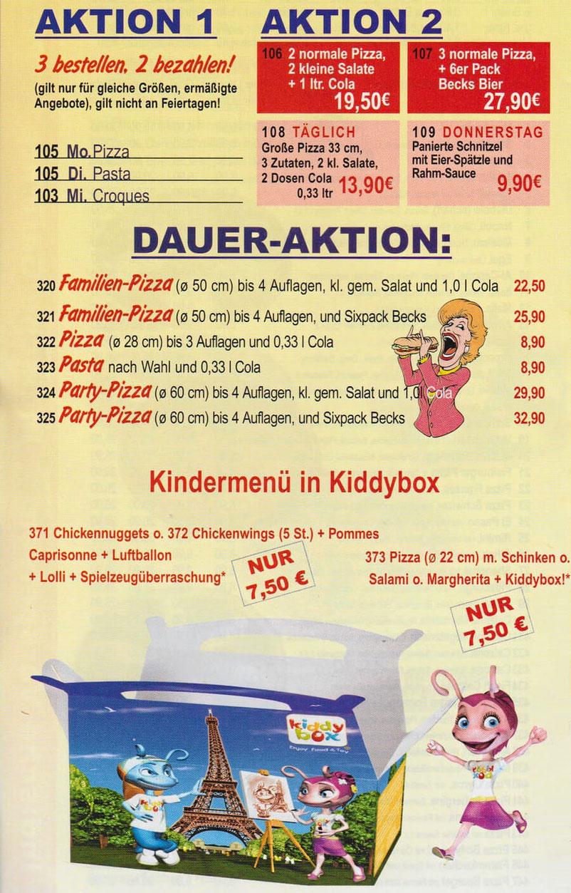 Pizza Aktion für Milano Pizza Lieferservice: 3 Pizza bestellen, nur 2 bezahlen. Sonderangebote für Familienpizza und Partypizza XXL