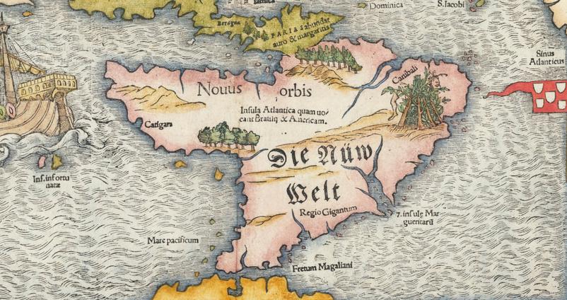Sebastian Munster, Tavola dell'isole nuove... Bâle, 1558. Extrait - raremaps.com