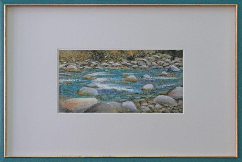 """Gebirgsfluss"" (Pastell), 60 cm x 40 cm"