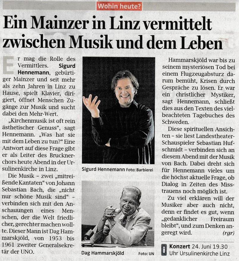 24.06.2016 | Ein Mainzer in Linz vermittelt zwischen Musik und dem Leben | OÖN Textarchiv (rgr)