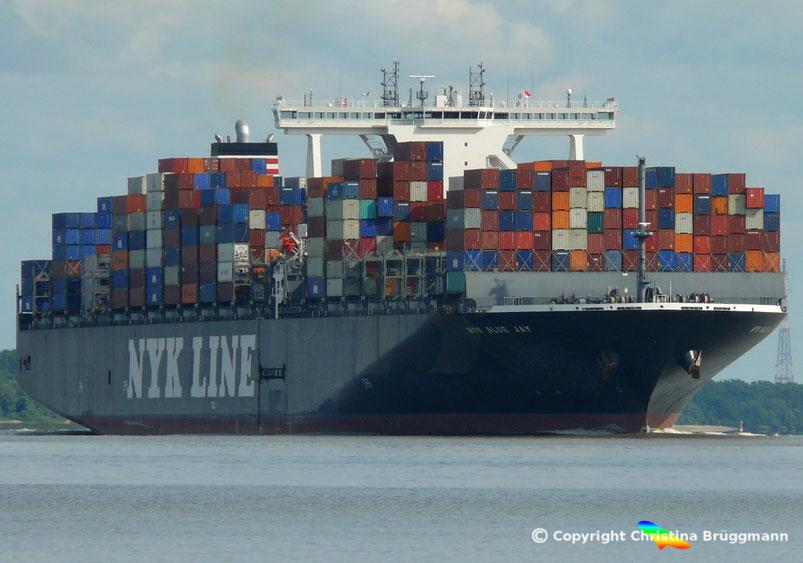 Containerschiff NYK BLUE JAY auf der Elbe 28.06.2016