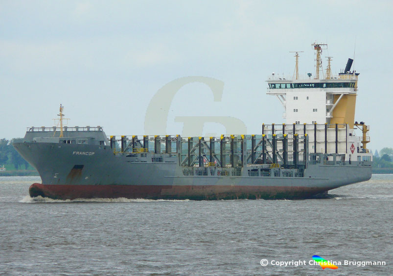 Feeder Containerschiff FRANCOP, Elbe 24.08.2018