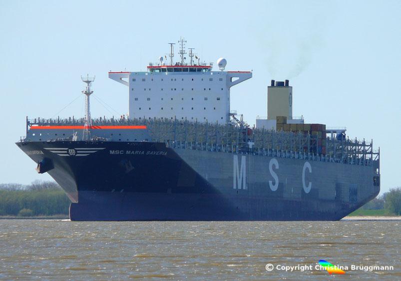 Containerschiff MSC MARIA SAVERIA  auf der Elbe Richtung Hamburg