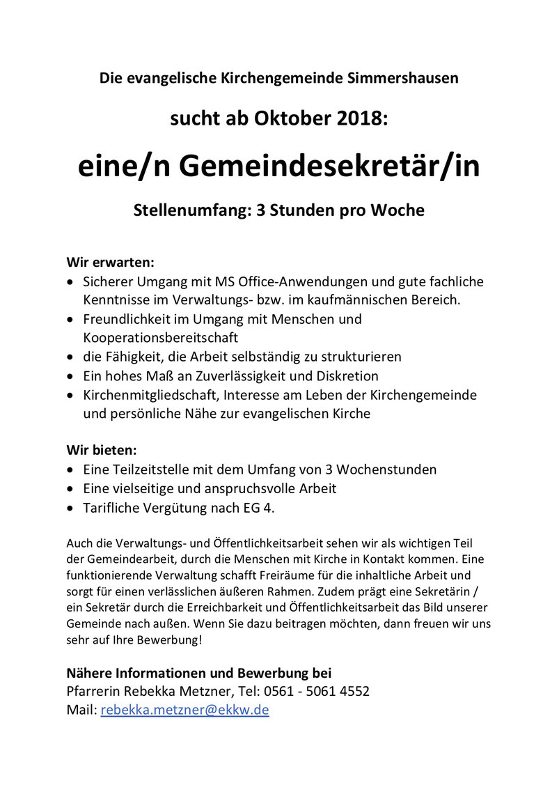 Gemeindebüro Sucht Nachfolgerin Kirchengemeinde Simmershausen