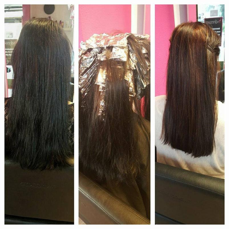 h dresser lange haare viele Strähnen hell färben schonende Färbung